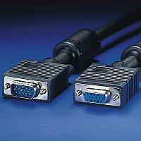 ROLINE 11.04.5356 :: VGA кабел HD15 M/F, 6.0 м с феритни накрайници, удължителен, Quality