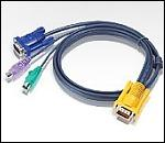ATEN 2L-5202P :: KVM кабел, SPHD15 M >> 2x PS2 M + HD15 M, 1.8 м