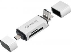 SANDBERG SNB-136-28 :: USB-C+USB+MicroUSB комбо четец за карти