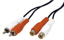 ROLINE 11.09.4326 :: Чинч удължителен кабел, 2x RCA M-F, 5.0 м