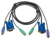 ATEN 2L-5003P/C :: KVM кабел, HD15 M + 2x PS2 M >> HD15 F + 2x PS2 M, Slim, 3.0 м