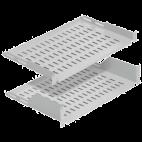 """MIRSAN MR.RAK1U20.01 :: 19"""" рафт за сървърен шкаф - 486 x 200 x 44 мм, D=200 мм, вентилиран, 2-точков монтаж, 30 кг товар, черен"""