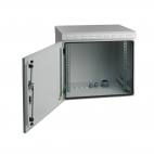 MIRSAN MR.IP55W12U45.03 :: IP55 Outdoor сървърен шкаф - 600 x 450 x 630 мм, D=450 мм / 12U, 100 кг товар, бял, за стена